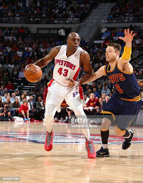 Anthony Tolliver of the Detroit Pistons defends the ball against the Cleveland Cavaliers during Game Three of the Eastern Conference Quarterfinals...