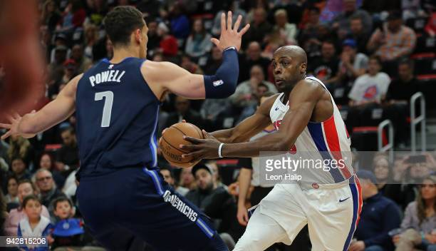 Anthony Tolliver of the Detroit Pistons drives the ball to the basket as Dwight Powell of the Dallas Mavericks defends during the second quarter of...