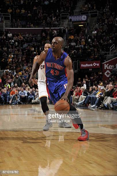 Anthony Tolliver of the Detroit Pistons drives to the basket against the Cleveland Cavaliers on April 13 2016 at Quicken Loans Arena in Cleveland...