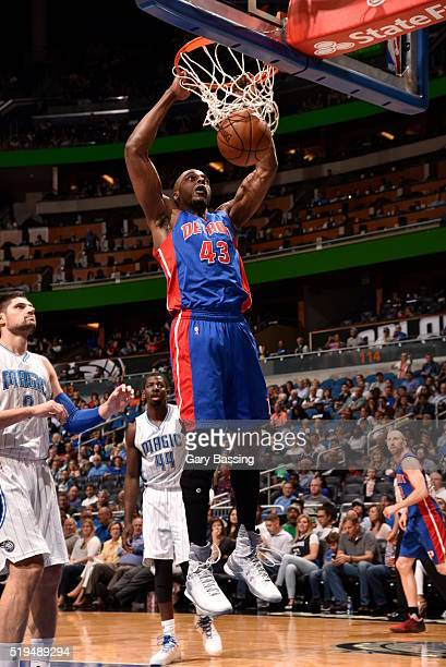 Anthony Tolliver of the Detroit Pistons dunks against the Orlando Magic on April 6 2016 at Amway Center in Orlando Florida NOTE TO USER User...