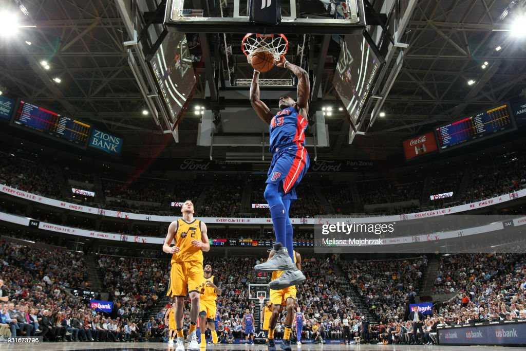 Anthony Tolliver #43 of the Detroit Pistons dunks the ball against the Utah Jazz on March 13, 2018 at vivint.SmartHome Arena in Salt Lake City, Utah.