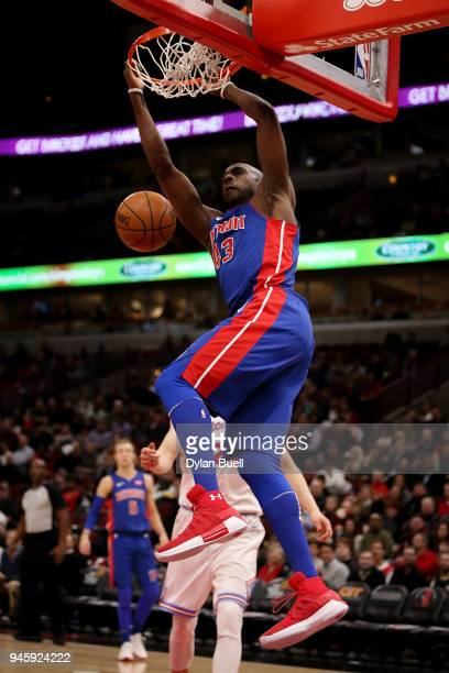 Anthony Tolliver of the Detroit Pistons dunks the ball in the first quarter against the Chicago Bulls at the United Center on April 11 2018 in...