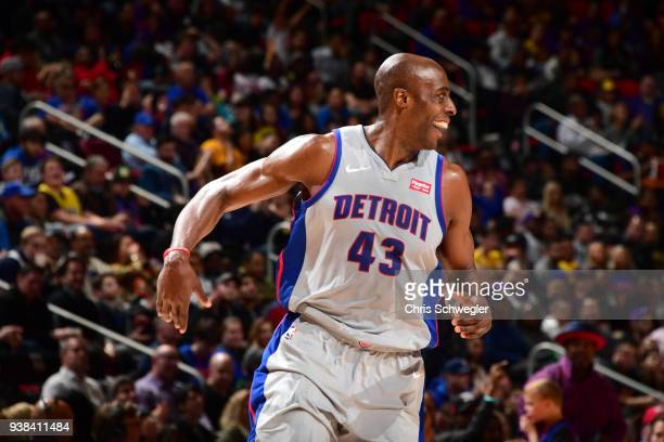 Anthony Tolliver of the Detroit Pistons during the game against the Los Angeles Lakers on March 26 2018 at Little Caesars Arena in Detroit Michigan...
