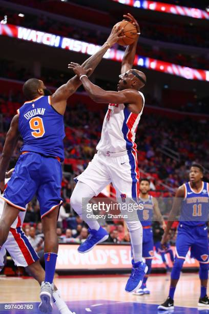 Anthony Tolliver of the Detroit Pistons gets his shot blocked by Kyle O'Quinn of the New York Knicks during the first half at Little Caesars Arena on...