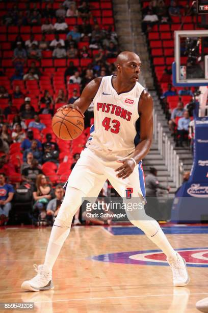 Anthony Tolliver of the Detroit Pistons handles the ball against the Indiana Pacers on October 9 2017 at Little Caesars Arena in Detroit Michigan...