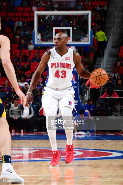 Anthony Tolliver of the Detroit Pistons handles the ball against the Indiana Pacers on November 8 2017 at Little Caesars Arena in Detroit Michigan...
