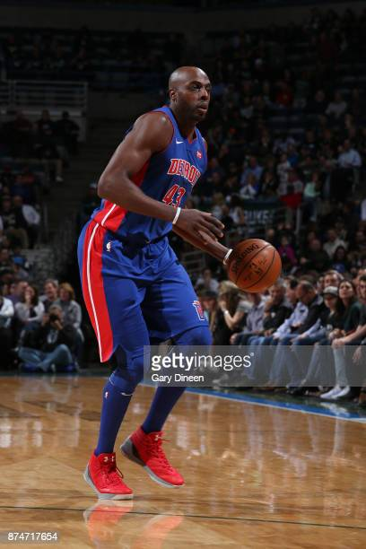 Anthony Tolliver of the Detroit Pistons handles the ball against the Milwaukee Bucks on November 15 2017 at the BMO Harris Bradley Center in...