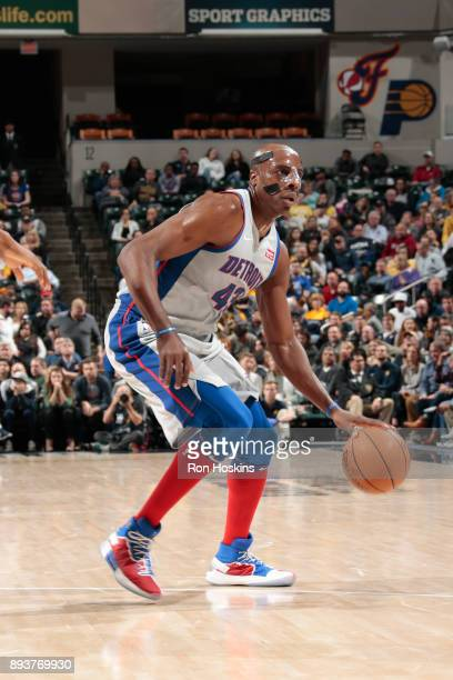 Anthony Tolliver of the Detroit Pistons handles the ball against the Indiana Pacers on December 15 2017 at Bankers Life Fieldhouse in Indianapolis...