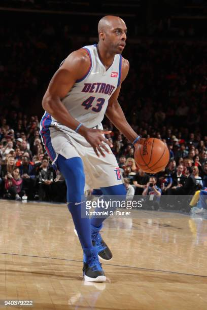 Anthony Tolliver of the Detroit Pistons handles the ball during the game against the New York Knicks on March 31 2018 at Madison Square Garden in New...