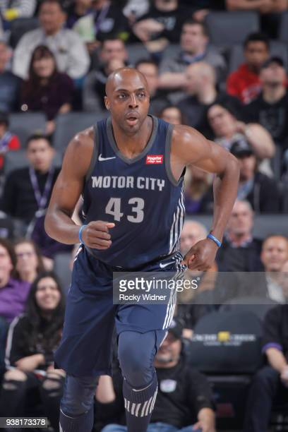 Anthony Tolliver of the Detroit Pistons looks on during the game against the Sacramento Kings on March 19 2018 at Golden 1 Center in Sacramento...