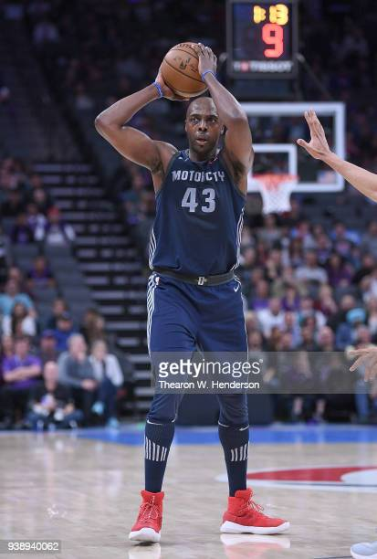 Anthony Tolliver of the Detroit Pistons looks to pass the ball against the Sacramento Kings during an NBA basketball game at Golden 1 Center on March...