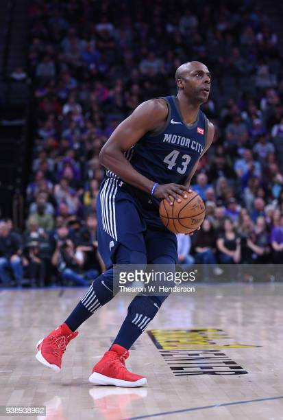 Anthony Tolliver of the Detroit Pistons looks to shoot against the Sacramento Kings during an NBA basketball game at Golden 1 Center on March 19 2018...