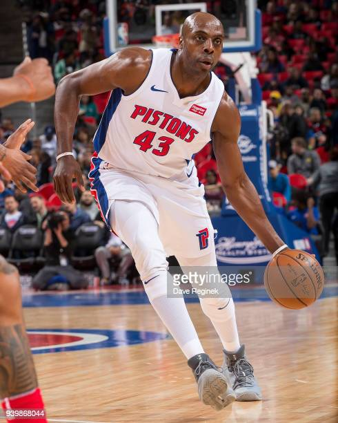 Anthony Tolliver of the Detroit Pistons moves the ball up court against the Washington Wizards during an NBA game at Little Caesars Arena on March 29...