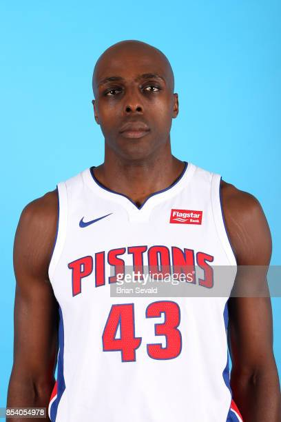 Anthony Tolliver of the Detroit Pistons poses for a head shot during media day at Little Caesars Arena in Detroit Michigan on September 25 2017 NOTE...