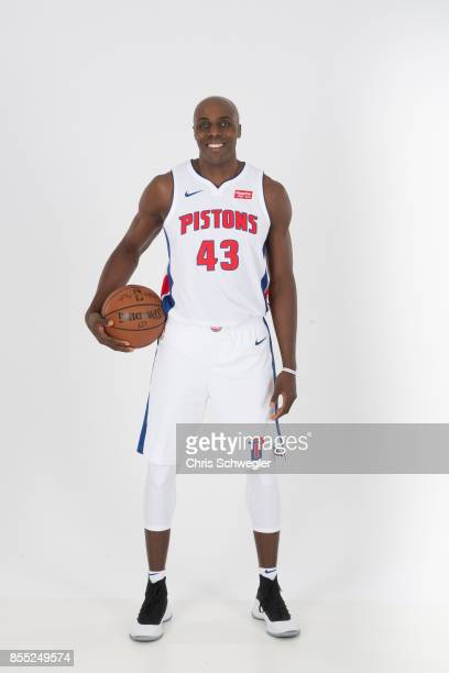 Anthony Tolliver of the Detroit Pistons poses for a portrait during Media Day on September 25 2017 at the Little Caesars Arena Detroit MI NOTE TO...