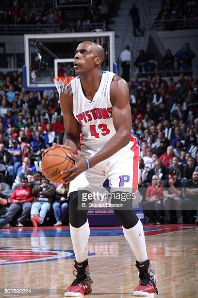Anthony Tolliver of the Detroit Pistons shoots the ball against the Boston Celtics on December 26 2015 at The Palace of Auburn Hills in Auburn Hills...