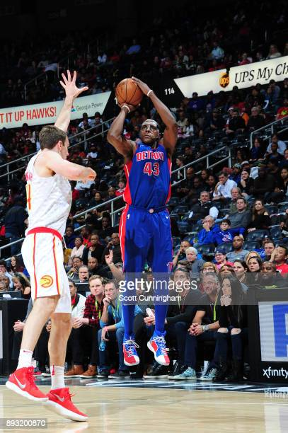 Anthony Tolliver of the Detroit Pistons shoots the ball against the Atlanta Hawks on December 14 2017 at Philips Arena in Atlanta Georgia NOTE TO...