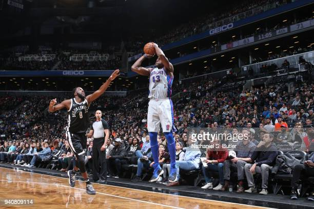Anthony Tolliver of the Detroit Pistons shoots the ball against the Brooklyn Nets on April 1 2018 at Barclays Center in Brooklyn New York NOTE TO...