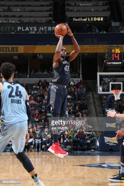 Anthony Tolliver of the Detroit Pistons shoots the ball against the Memphis Grizzlies on April 8 2018 at FedExForum in Memphis Tennessee NOTE TO USER...