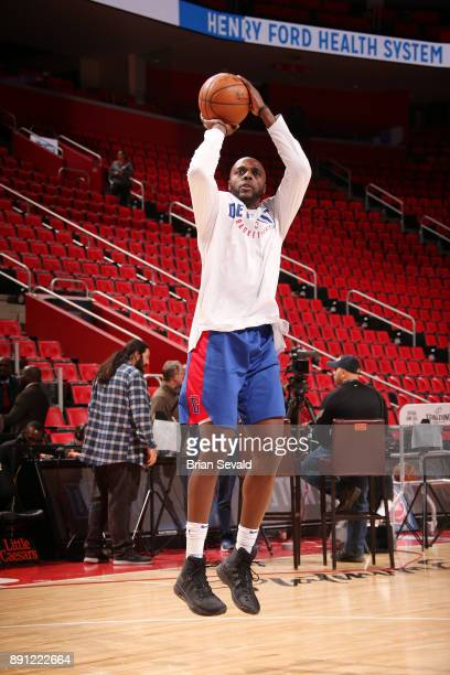Anthony Tolliver of the Detroit Pistons shoots the ball before the game against the Denver Nuggets on December 12 2017 at Little Caesars Arena in...