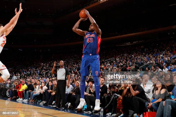 Anthony Tolliver of the Detroit Pistons shoots the ball during a game against the New York Knicks at Madison Square Garden in New York City New York...