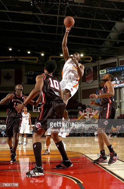 Anthony Tolliver of the Iowa Energy shoots over Brian Hamilton of the Utah Flash during the 2008 NBA Development League Showcase game between and on...