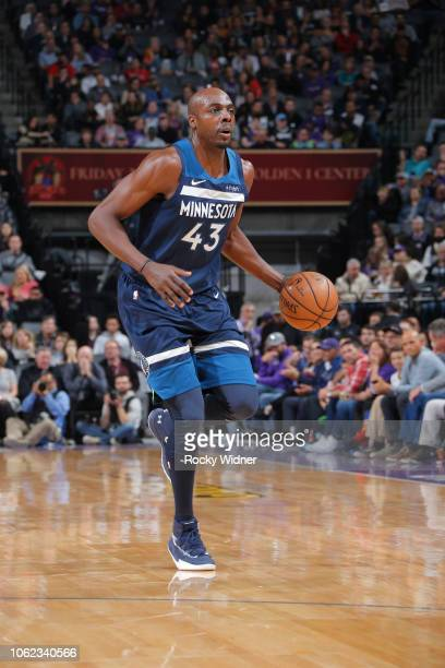 Anthony Tolliver of the Minnesota Timberwolves brings the ball up the court against the Sacramento Kings on November 9 2018 at Golden 1 Center in...