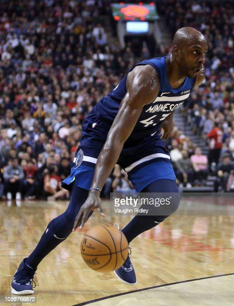Anthony Tolliver of the Minnesota Timberwolves dribbles the ball during the first half of an NBA game against the Toronto Raptors at Scotiabank Arena...