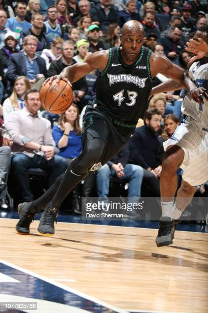 Anthony Tolliver of the Minnesota Timberwolves drives to the basket against the Orlando Magic on January 4 2019 at Target Center in Minneapolis...
