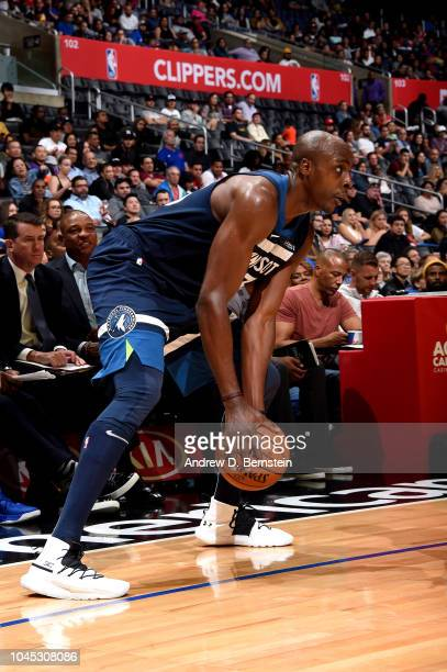 Anthony Tolliver of the Minnesota Timberwolves handles the ball against the LA Clippers during a preseason game on October 3 2018 at Staples Center...