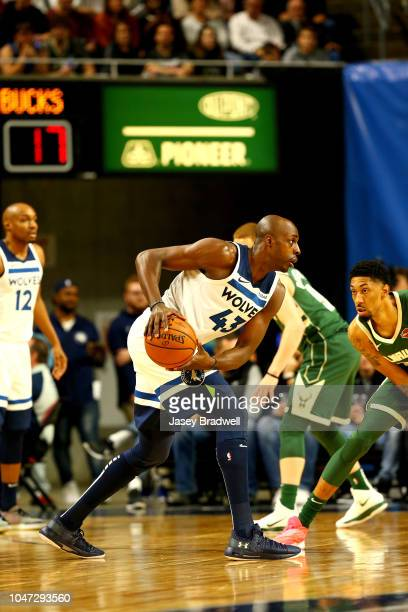 Anthony Tolliver of the Minnesota Timberwolves handles the ball against the Milwaukee Bucks during a preseason game on October 7 2018 at the Hilton...