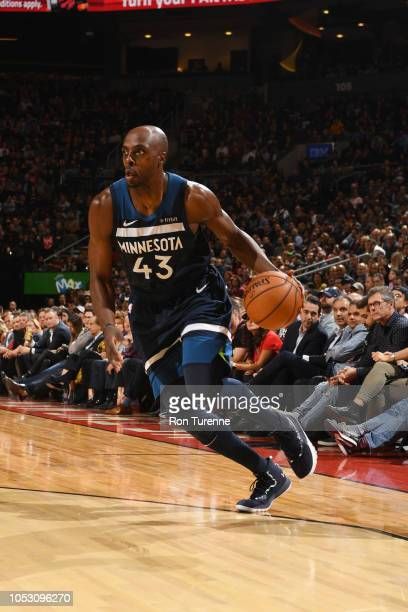 Anthony Tolliver of the Minnesota Timberwolves handles the ball against the Toronto Raptors on October 24 2018 at the Scotiabank Arena in Toronto...