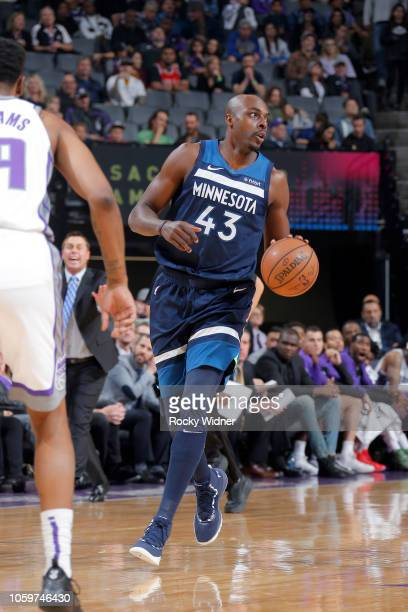 Anthony Tolliver of the Minnesota Timberwolves handles the ball against the Sacramento Kings on November 9 2018 at Golden 1 Center in Sacramento...