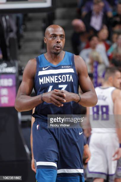 Anthony Tolliver of the Minnesota Timberwolves looks on during the game against the Sacramento Kings on November 9 2018 at Golden 1 Center in...