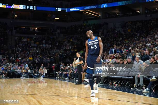 Anthony Tolliver of the Minnesota Timberwolves looks on during the game against the Los Angeles Lakers on January 6 2019 at Target Center in...
