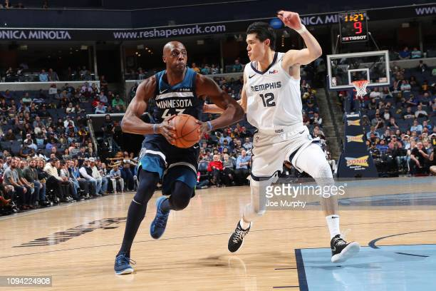Anthony Tolliver of the Minnesota Timberwolves passes the ball during the game against the Memphis Grizzlies on February 5 2019 at FedExForum in...