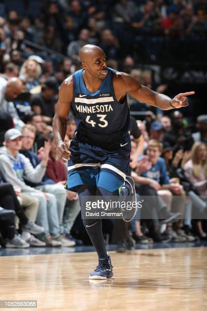 Anthony Tolliver of the Minnesota Timberwolves reacts to a play during the game against the Cleveland Cavaliers on October 19 2018 at Target Center...