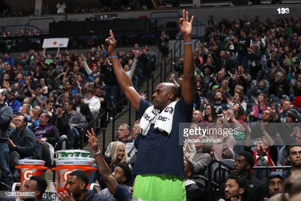 Anthony Tolliver of the Minnesota Timberwolves reacts to a play during the game against the Denver Nuggets on February 2 2019 at Target Center in...