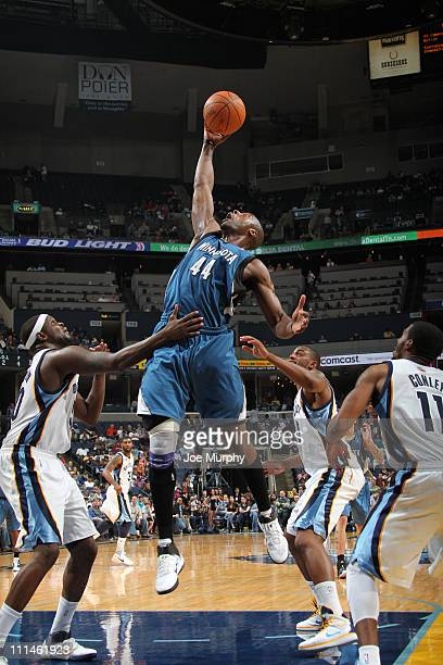 Anthony Tolliver of the MInnesota Timberwolves rebounds against the Memphis Grizzlies on April 2 2011 at FedEx Forum in MemphisTennessee NOTE TO USER...