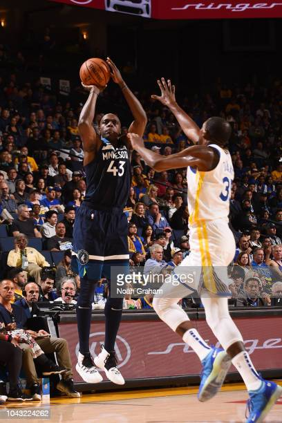 Anthony Tolliver of the Minnesota Timberwolves shoots the ball against the the Golden State Warriors during a preseason game on September 29 2018 at...