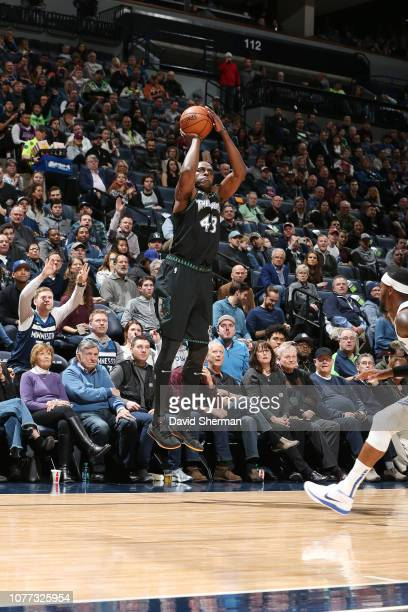 Anthony Tolliver of the Minnesota Timberwolves shoots the ball against the Orlando Magic on January 4 2019 at Target Center in Minneapolis Minnesota...