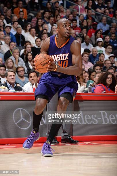 Anthony Tolliver of the Phoenix Suns drives against the Los Angeles Clippers on December 8 2014 at STAPLES Center in Los Angeles California NOTE TO...