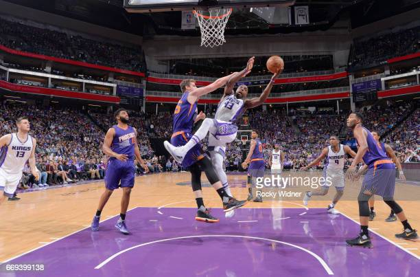 Anthony Tolliver of the Sacramento Kings goes up for the shot against the Phoenix Suns on April 11 2017 at Golden 1 Center in Sacramento California...