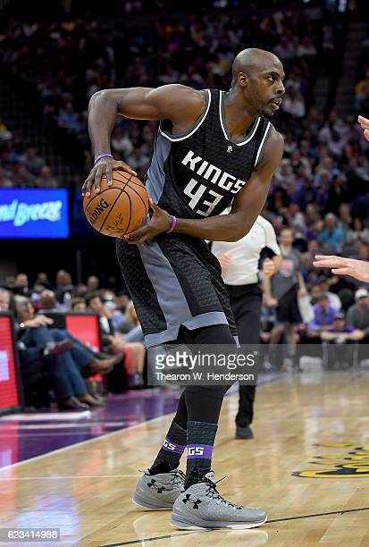 Anthony Tolliver of the Sacramento Kings looks to pass the ball against the Los Angeles Lakers during an NBA basketball game at Golden 1 Center on...