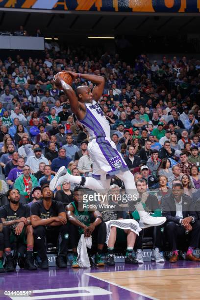 Anthony Tolliver of the Sacramento Kings saves a loose ball from going out of bounds during the game against the Boston Celtics on February 8 2017 at...