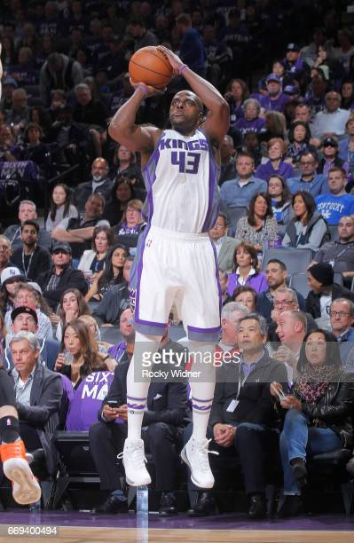 Anthony Tolliver of the Sacramento Kings shoots a three pointer against the Phoenix Suns on April 11 2017 at Golden 1 Center in Sacramento California...