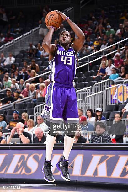 Anthony Tolliver of the Sacramento Kings shoots the ball against the Los Angeles Lakers on October 13 2016 at the TMobile Arena in Las Vegas Nevada...
