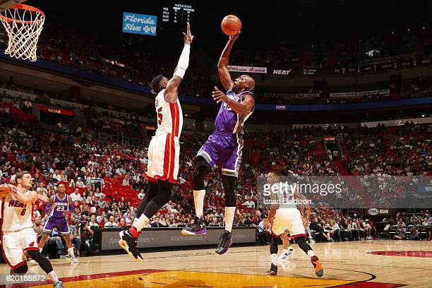 Anthony Tolliver of the Sacramento Kings shoots the ball against the Miami Heat on November 1 2016 at American Airlines Arena in Miami Florida NOTE...