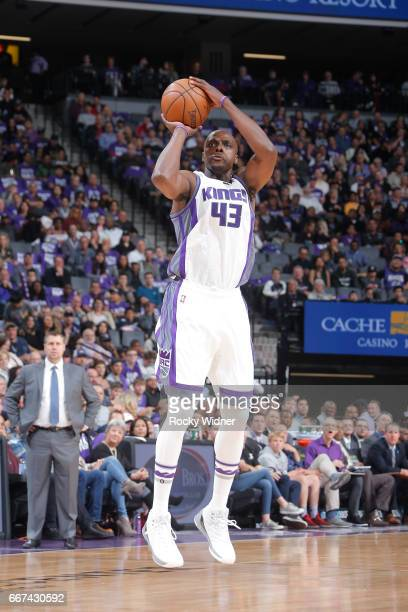 Anthony Tolliver of the Sacramento Kings shoots the ball against the Phoenix Suns on April 11 2017 at Golden 1 Center in Sacramento California NOTE...