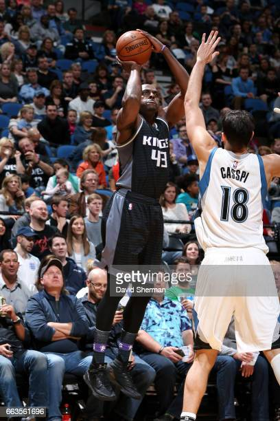 Anthony Tolliver of the Sacramento Kings shoots the ball during the game against the Minnesota Timberwolves on April 1 2017 at Target Center in...